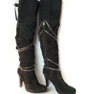 Two Lips OTK leather suede platform boots, 8.5